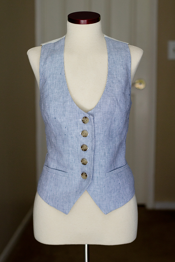 Linen Vest After Alterations