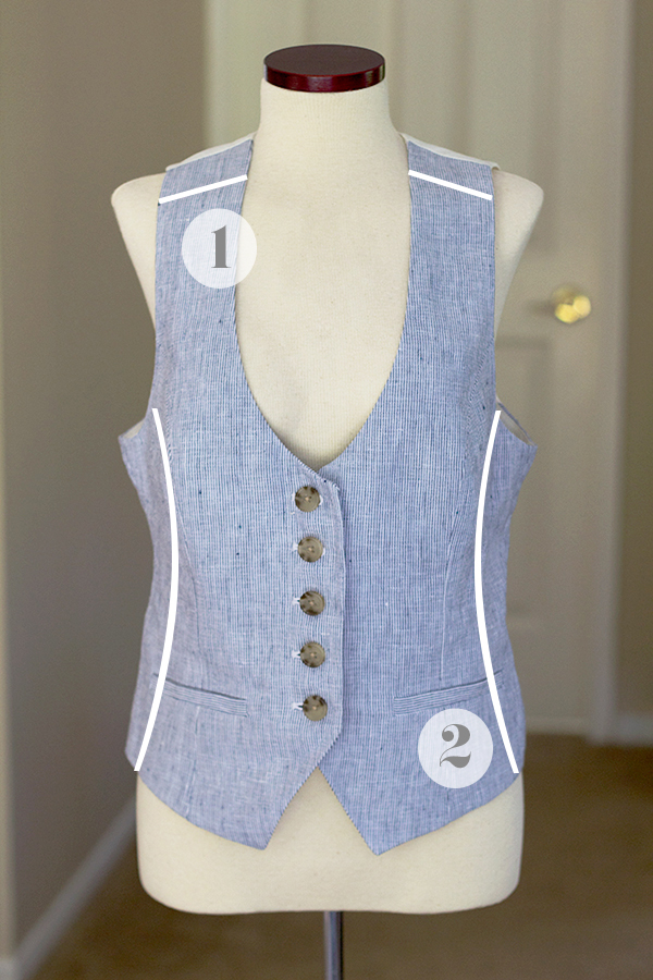 Linen Vest Before Alterations