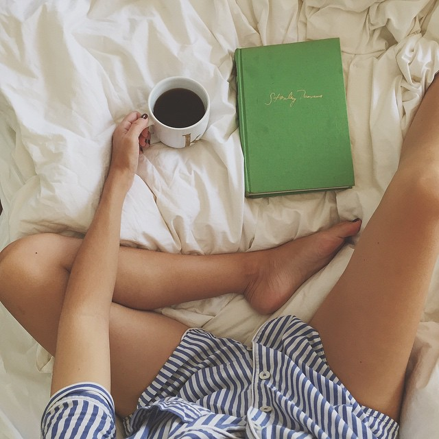 Turning the bachelor party weekend into my own personal staycation. Lounging guilt free a little longer than usual with pjs & a good book. The giant green book is a first edition memoir by Stanley Marcus of @neimanmarcus fame. ;)
