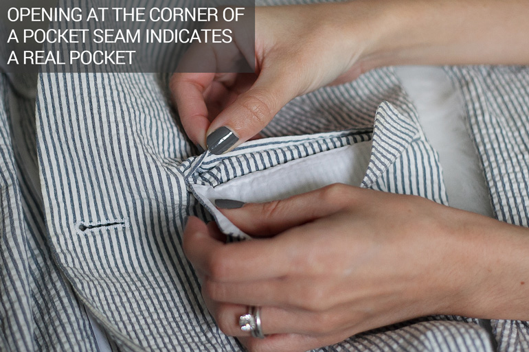 Open clothing pockets