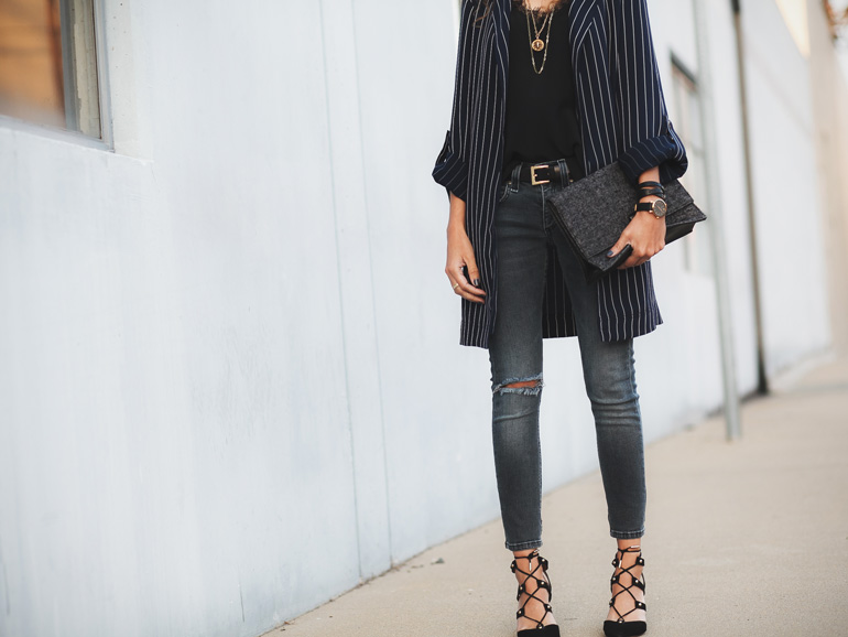 Outfit featuring a stripe duster jacket by Aritzia, Rag & Bone jeans, and Anine Bing silk cami. Petite outfit idea.