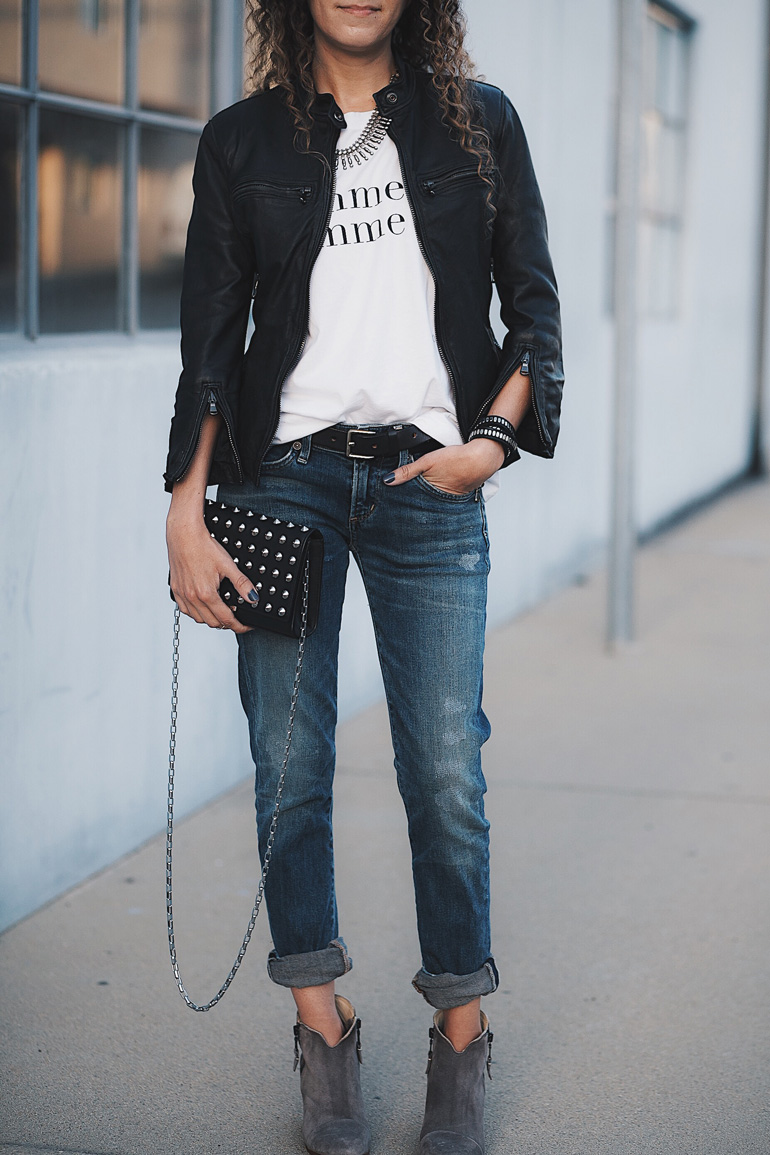 Outfit featuring the 3/4 sleeve leather jacket Cafe Racer by R13, a French slogan tee from Banana Republic, distressed Racer jeans by Citizens of Humanity, a studded handbag by Michael Kors, and suede Margot ankle booties by Rag & Bone.