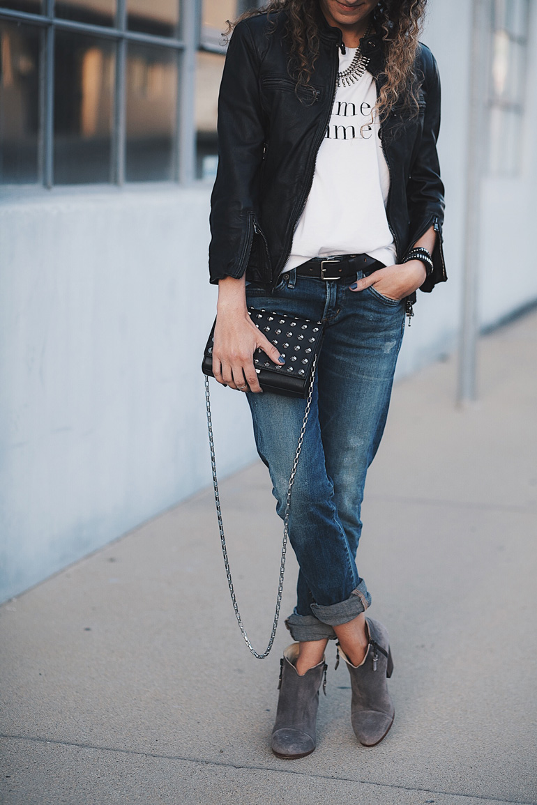 Petite friendly outfit with 3/4 sleeve leather jacket Cafe Racer by R13, distressed Racer jeans by Citizens of Humanity, studded handbag by Michael Kors, and suede Margot ankle booties by Rag & Bone.