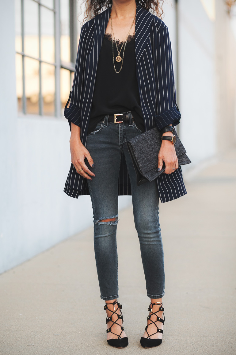 Outfit featuring a stripe duster jacket by Aritzia, Rag & Bone jeans, and Anine Bing silk cami. Petite fashion idea.