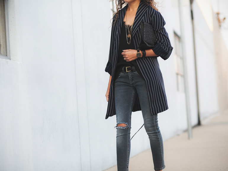 Outfit featuring a pinstripe drape jacket by Aritzia, Rag & Bone jeans, and Anine Bing silk cami. Petite style idea.