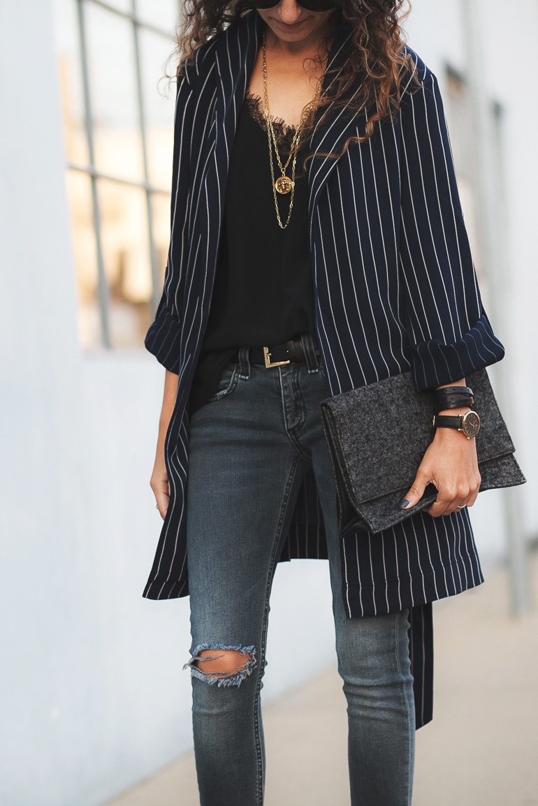 Outfit featuring a pinstripe drape jacket by Aritzia that's the perfect length for petites.