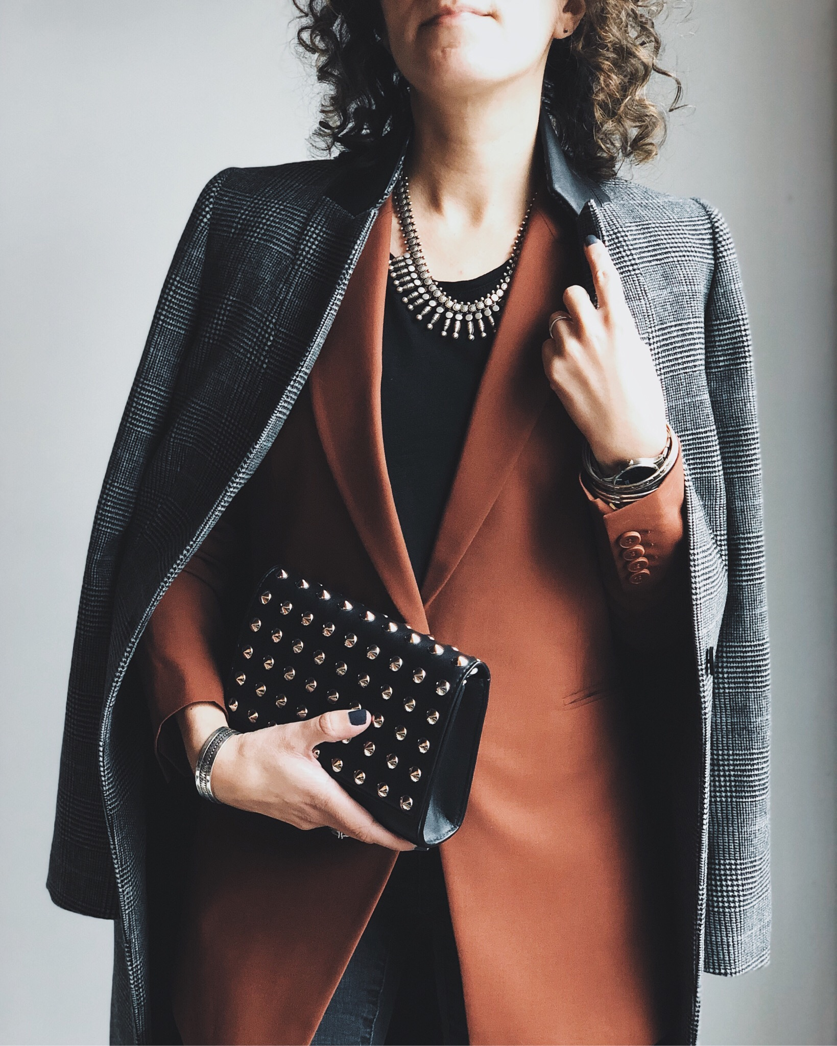 plaid coat, rust blazer, winter outfit idea
