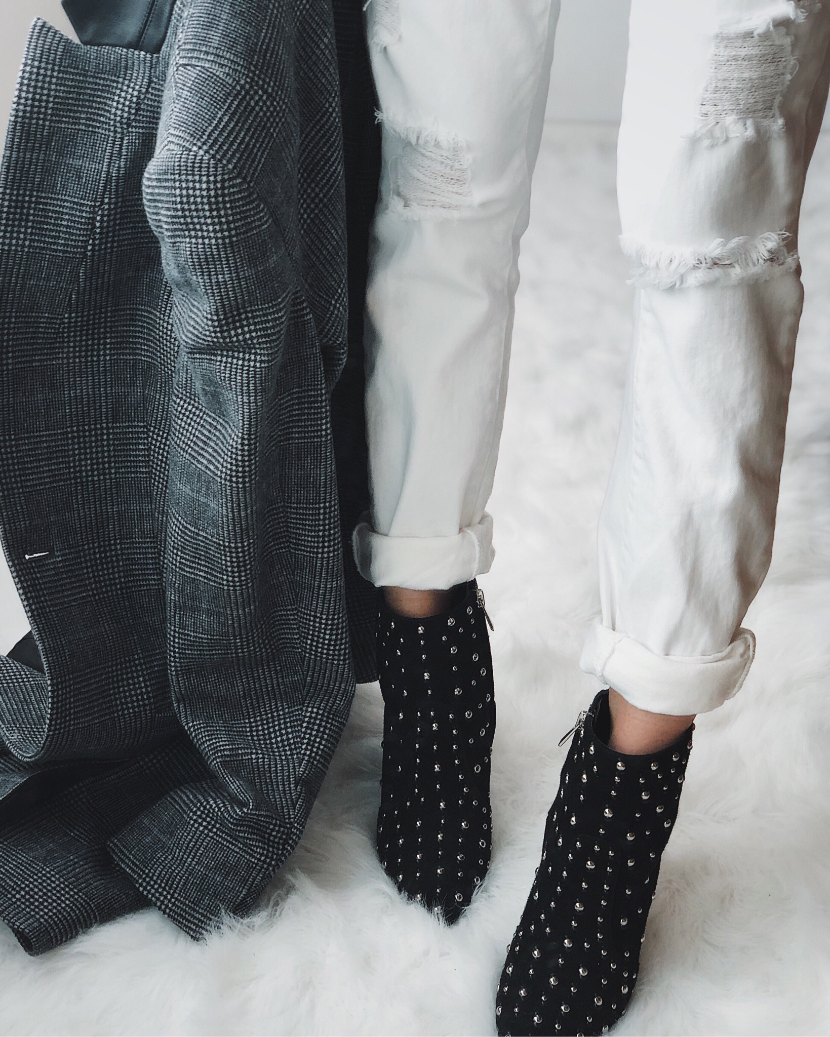 studded ankle booties, plaid coat, boyfriend jeans