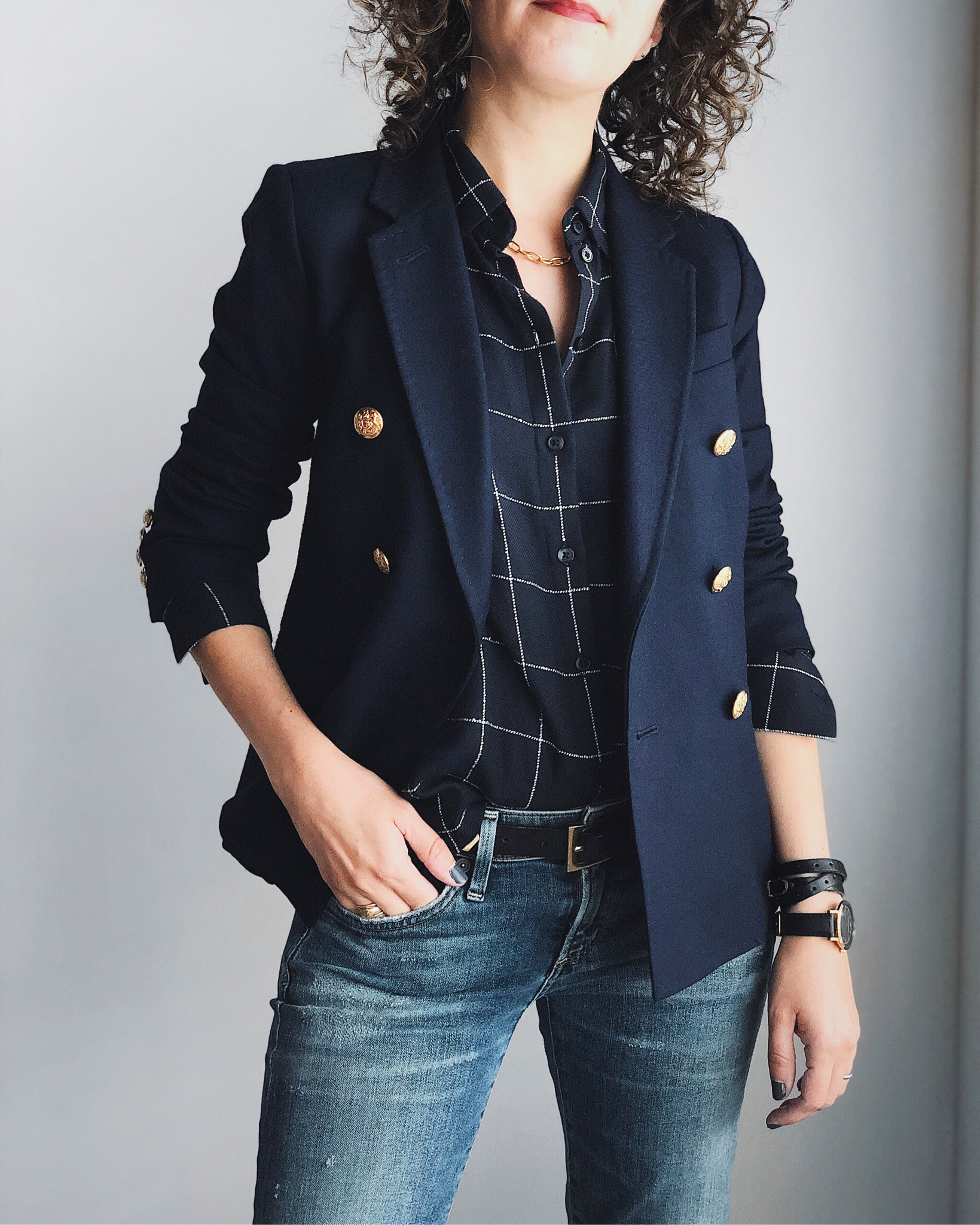 Preppy in double breasted blazer and windowpane shirt