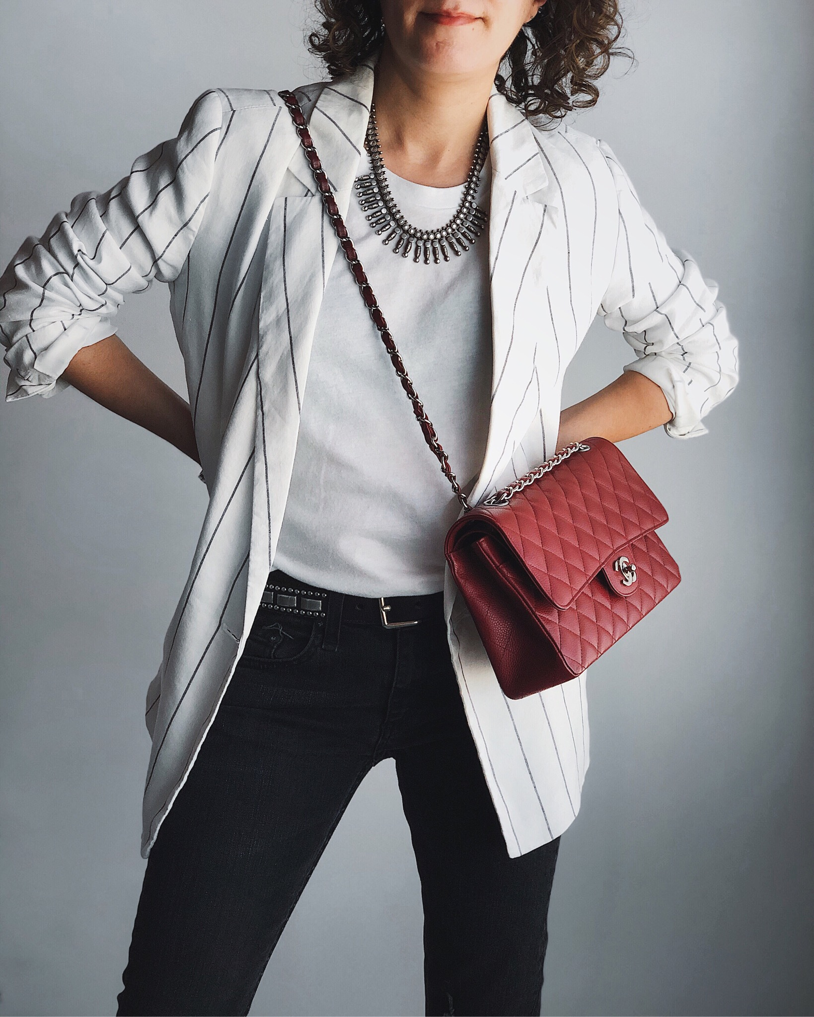 Gap stripe linen blazer and red Chanel classic flap