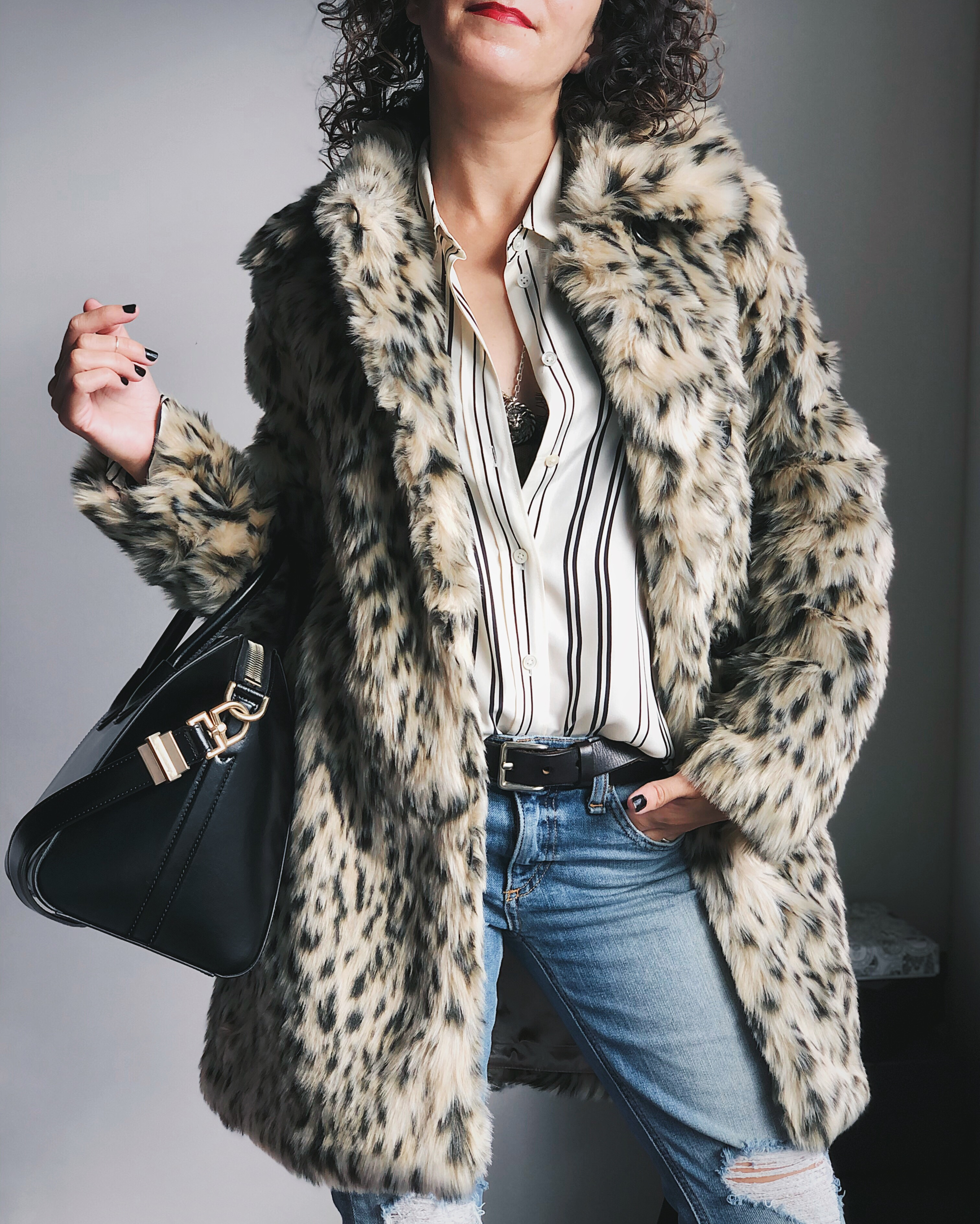 J.Crew Leopard Faux Fur Coat For Petite