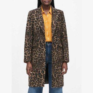 Banana Republic Petite Leopard Print Coat