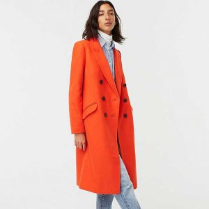J.Crew Petite Double-Breasted Top Coat In Bright Orange