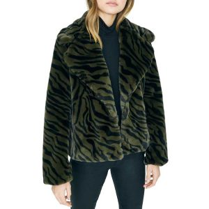 Sanctuary Petite Wild Nights Faux Fur Jacket in Zebra Print