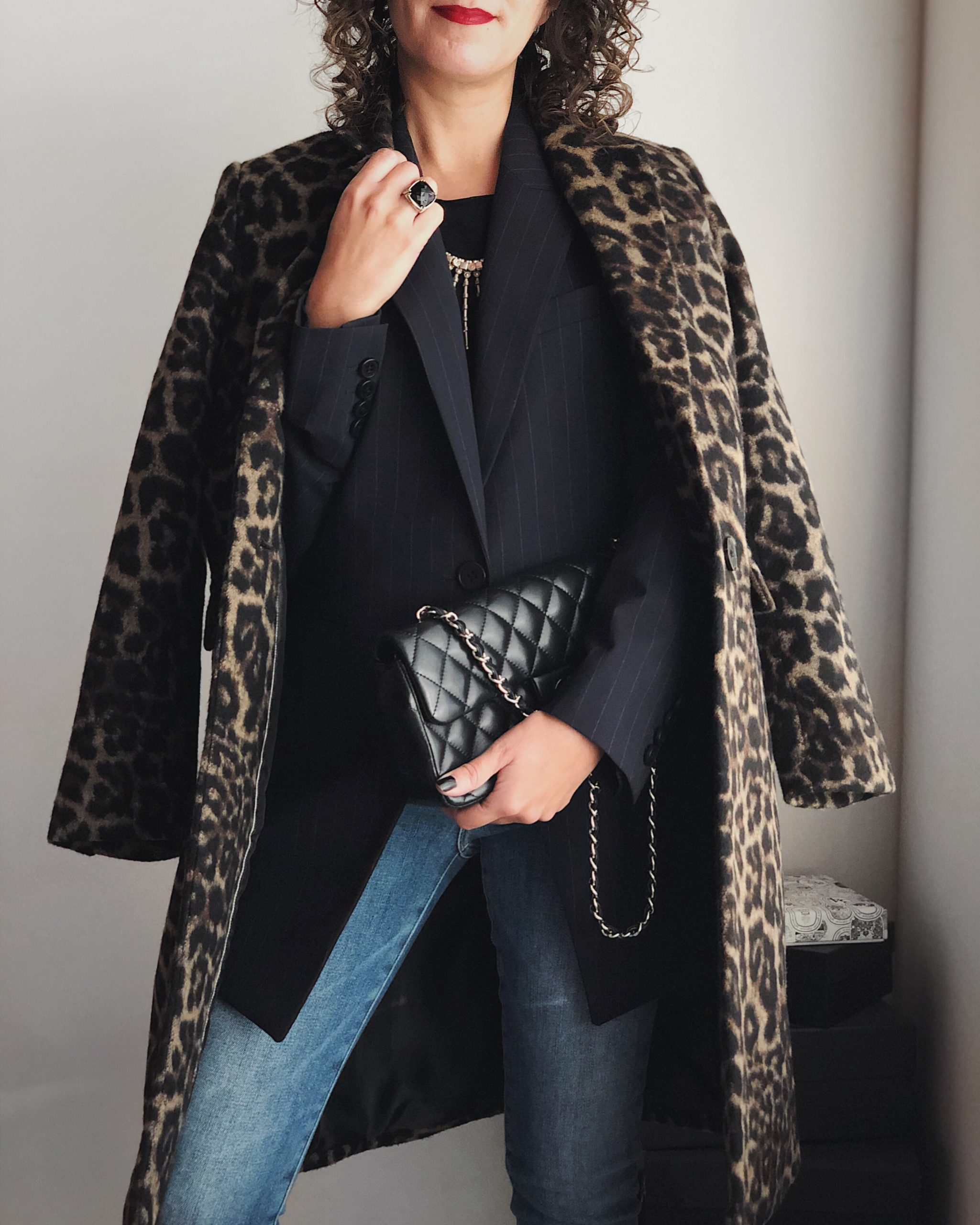 Leopard coat with pinstripe blazer outfit idea for fall