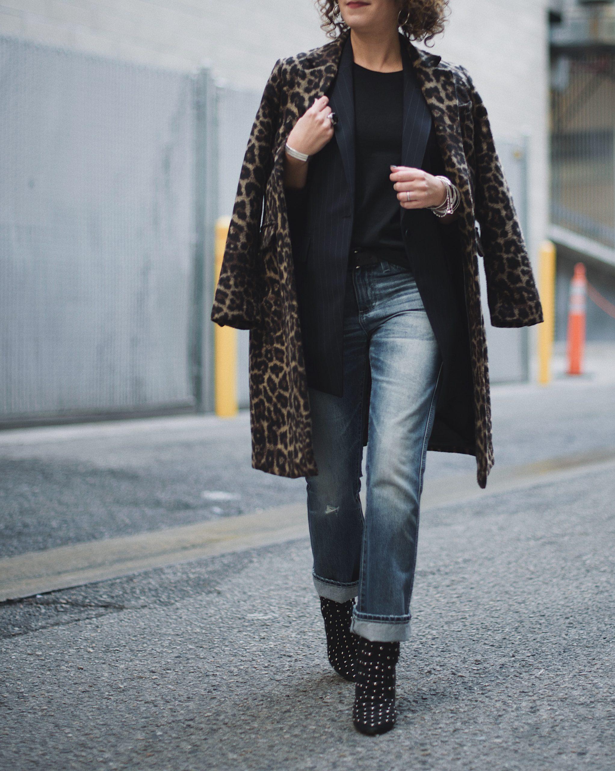 Petite Fashion, Leopard Coat, Stripe Blazer, AG Denim, Studded Boots