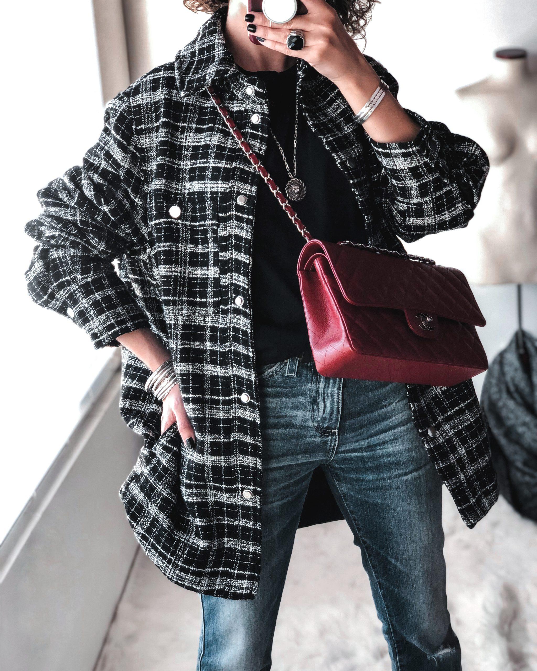 H&M plaid jacket, Uniqlo tee tshirt, red chanel classic flap, ag jodi jeans petite