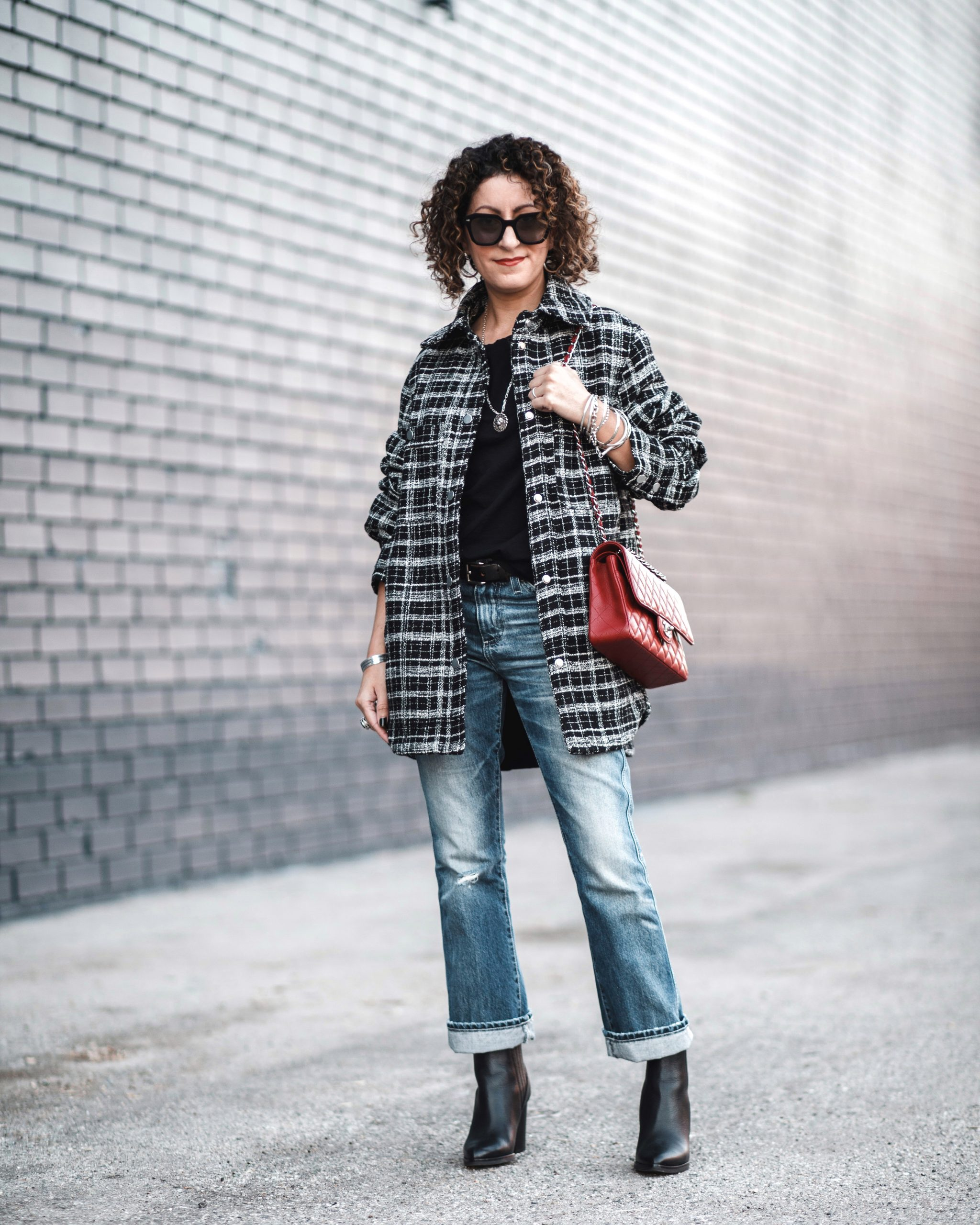 plaid jacket petite fashion style outfit