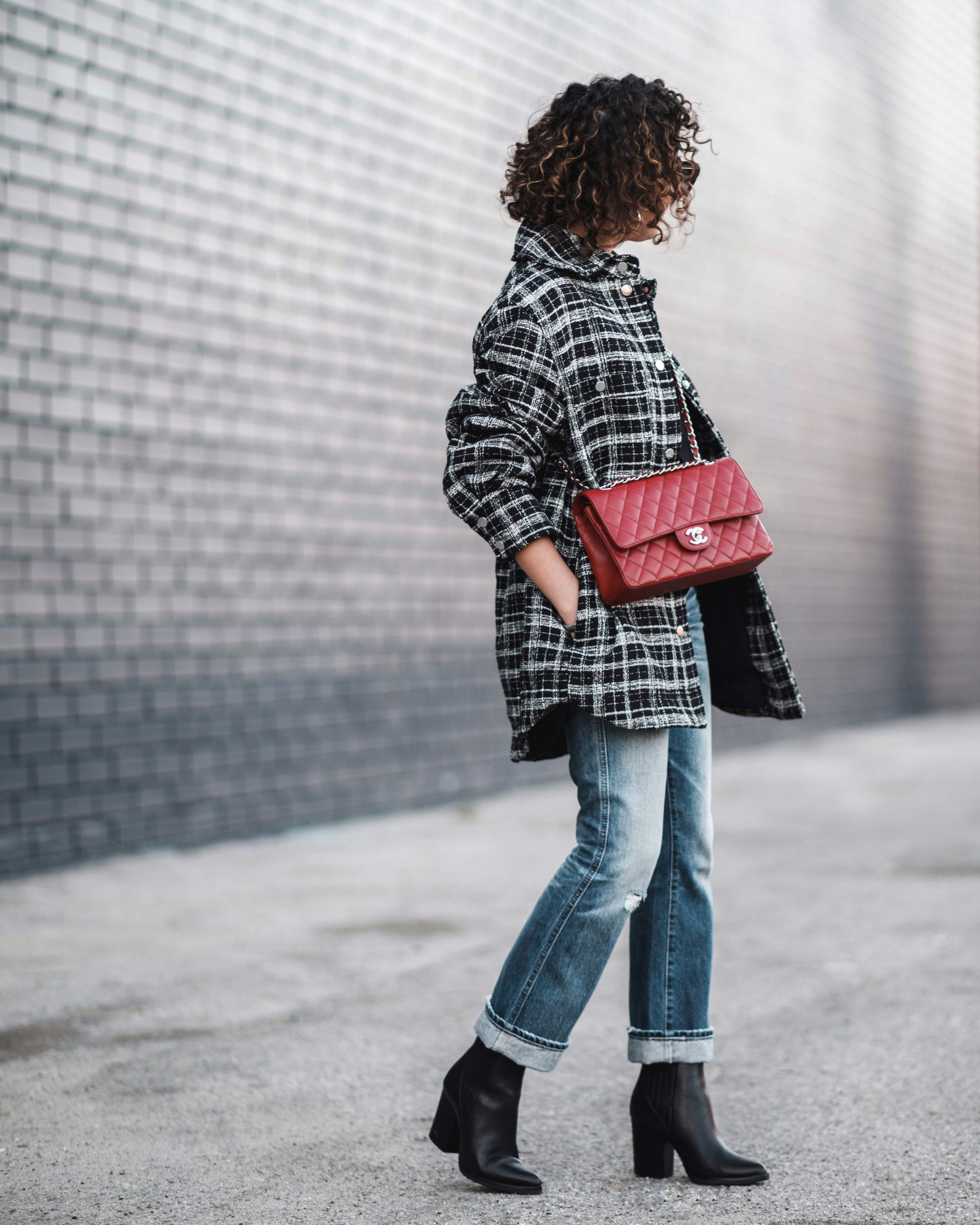 plaid jacket, red chanel, ag jeans, marc fisher boots, petite style outfit