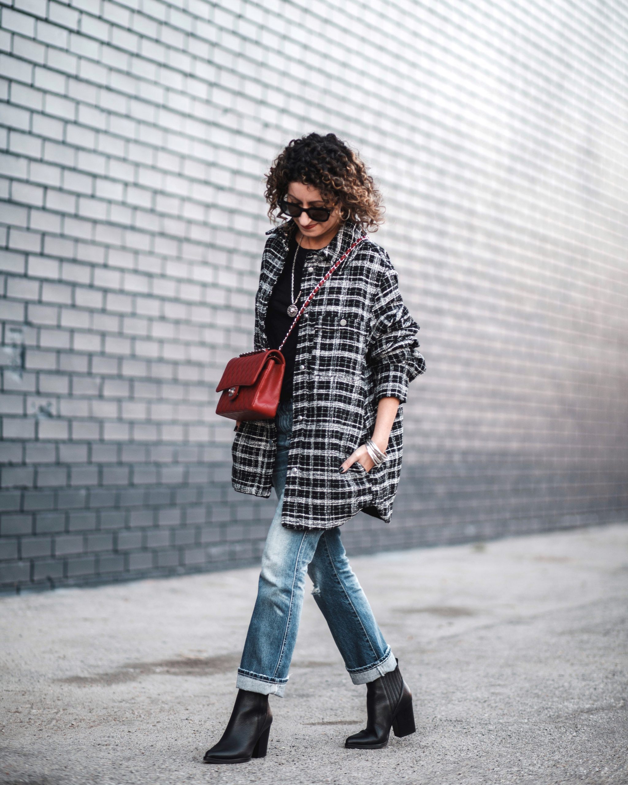 plaid jacket, red chanel handbag, ag jeans, petite fashion outfit