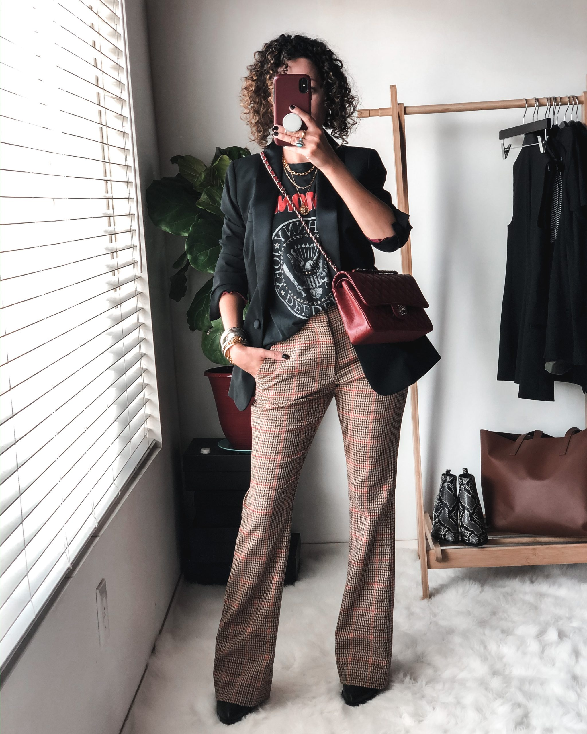 Plaid pants outfit idea