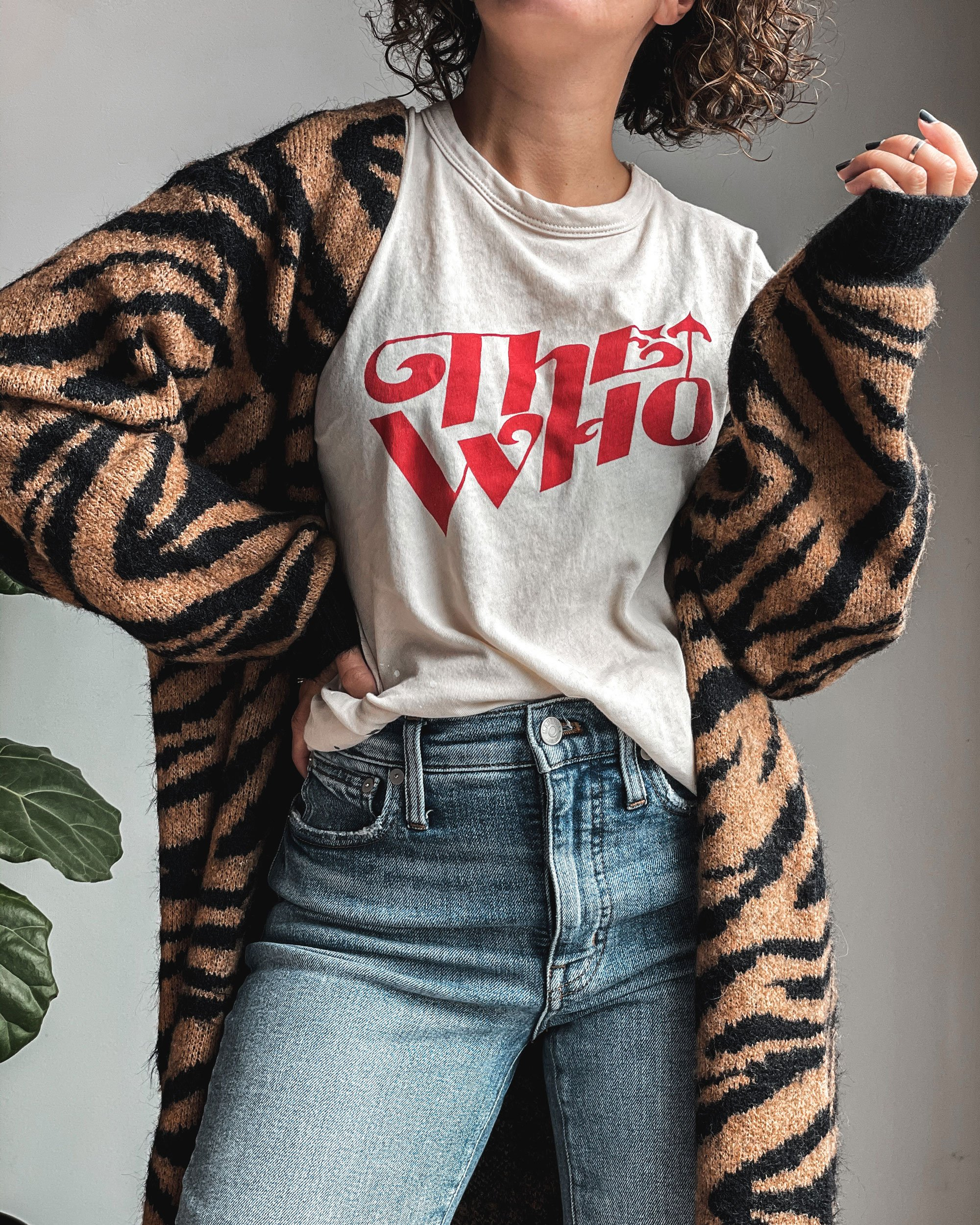 Tiger Cardigan & Band Tee